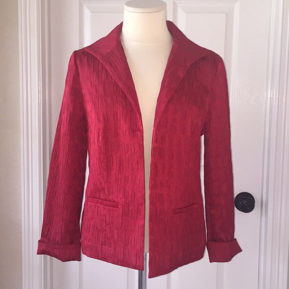 Chico's Jackets & Blazers - Chico's Red Blazer Suit Jacket Sz 1 Crinkle Look